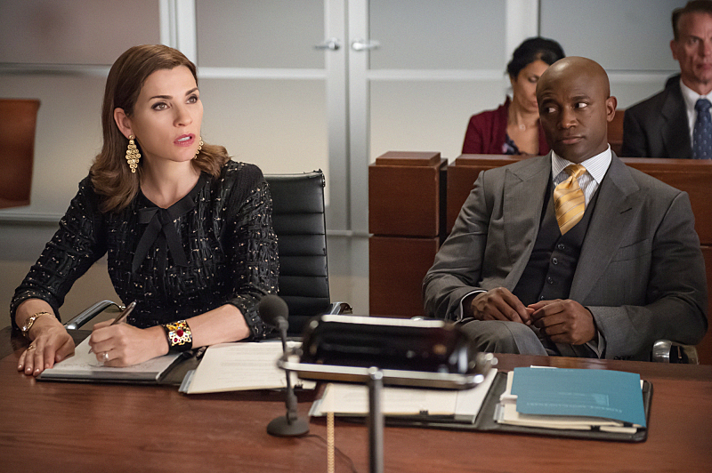 Julianna Margulies as Alicia Florrick and Taye Diggs as Dean Levine-Wilkins