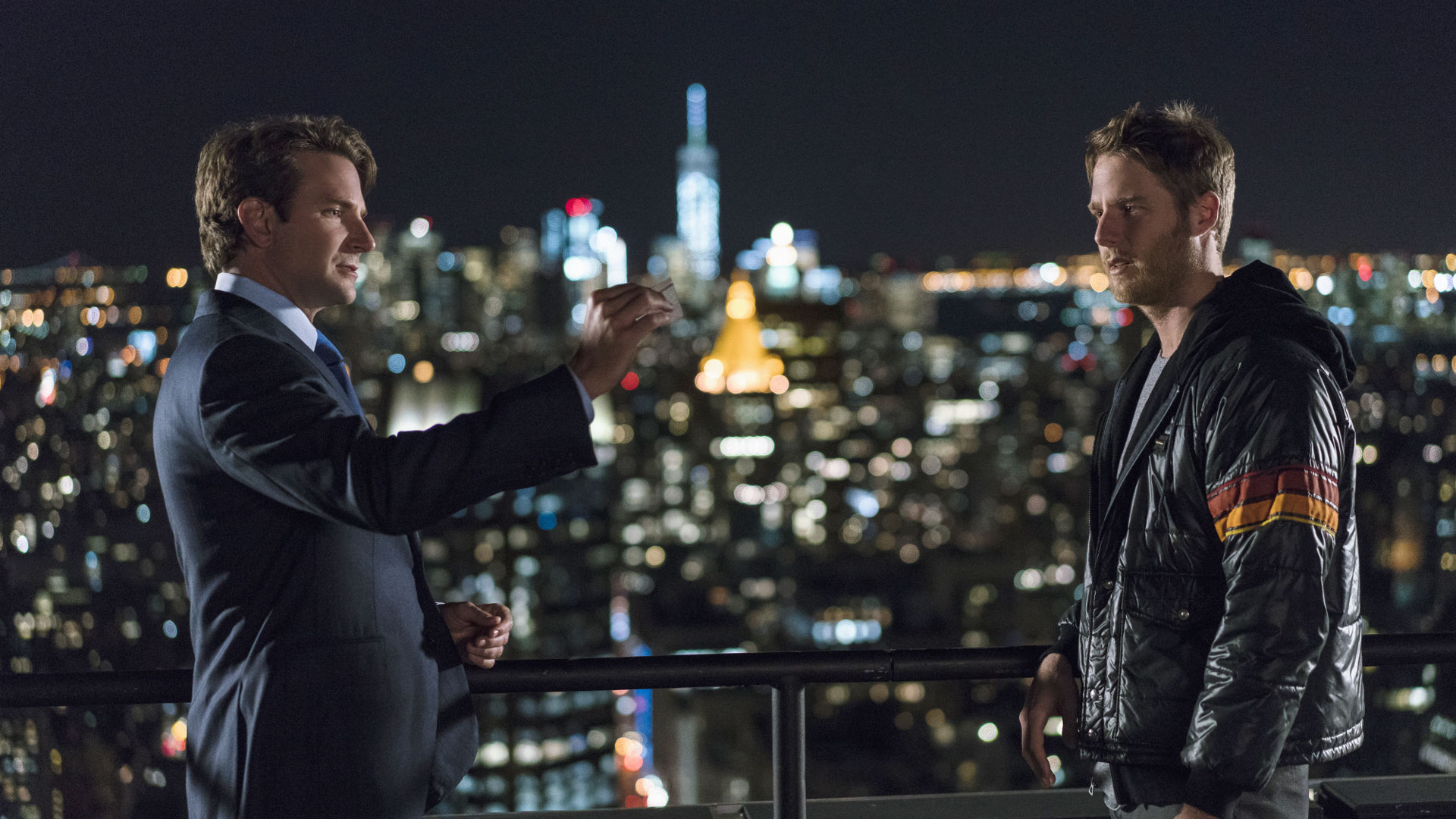 Bradley Cooper as Senator Edward Morra and Jake McDorman as Brian Finch
