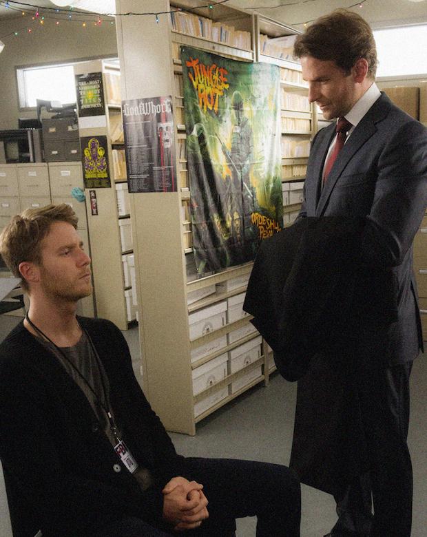 Jake McDorman as Brian Finch and Bradley Cooper as Senator Edward Morra