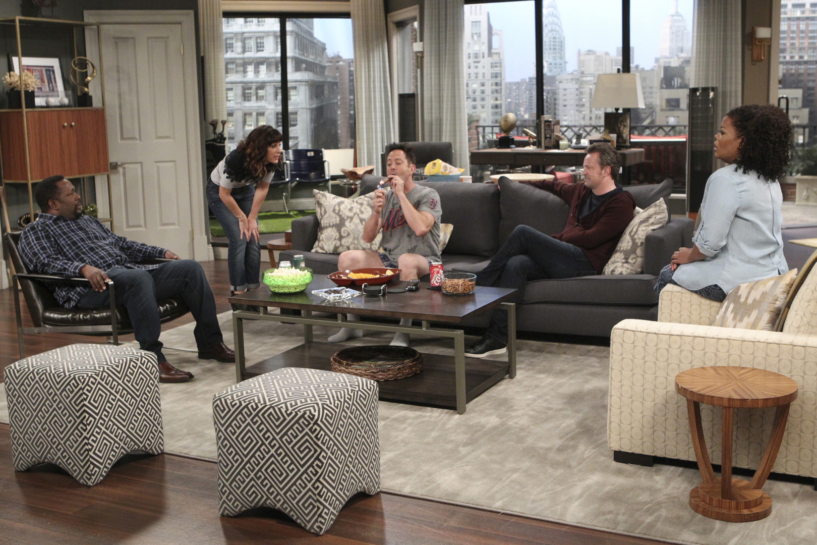 Felix cuts loose in the living room while surrounded by all his friends.