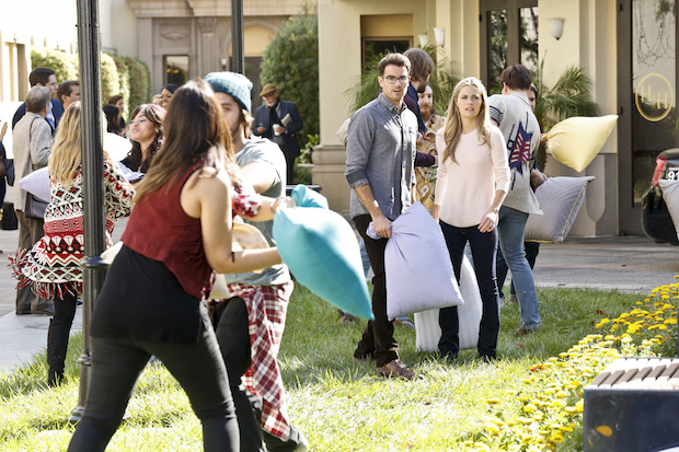 Allison tries to be spontaneous by participating in a massive pillow fight.