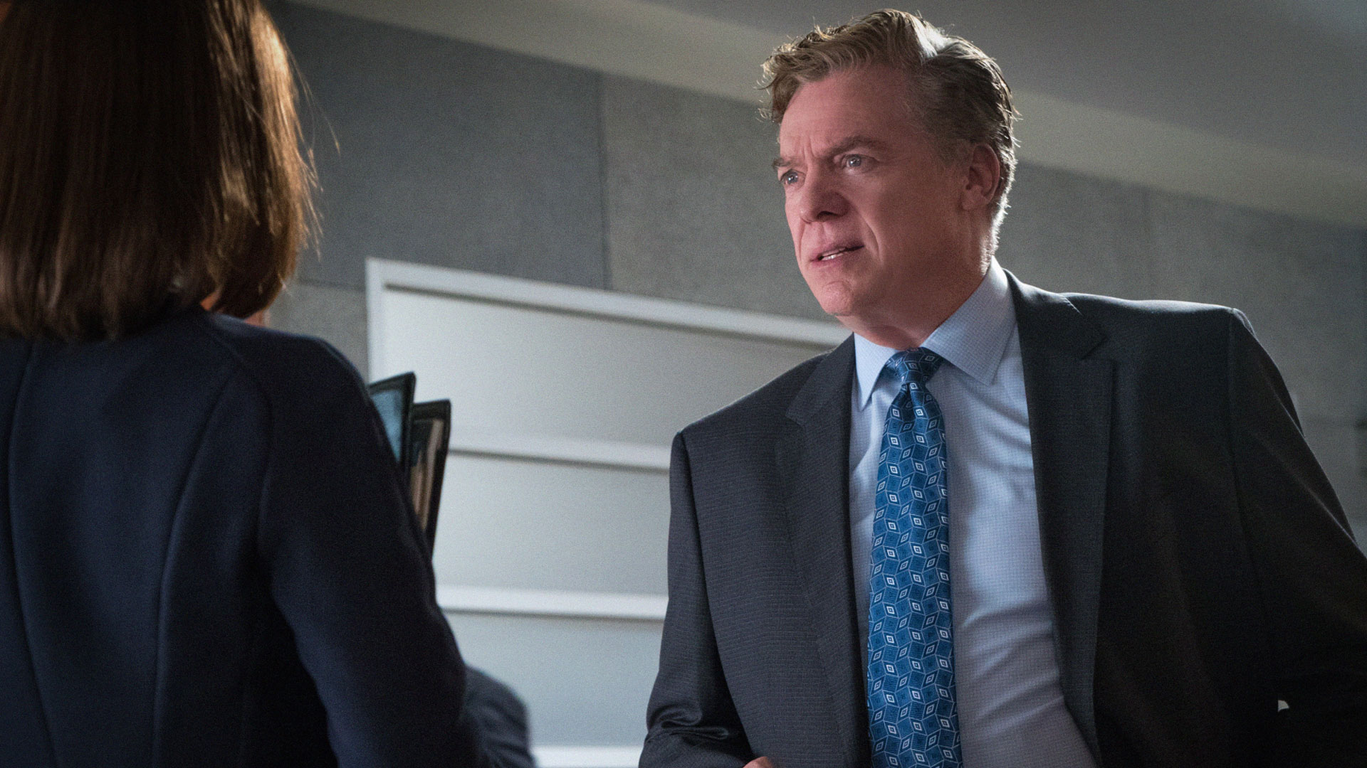 Julianna Margulies as Alicia Florrick and Christopher McDonald as Judge Schakowsky