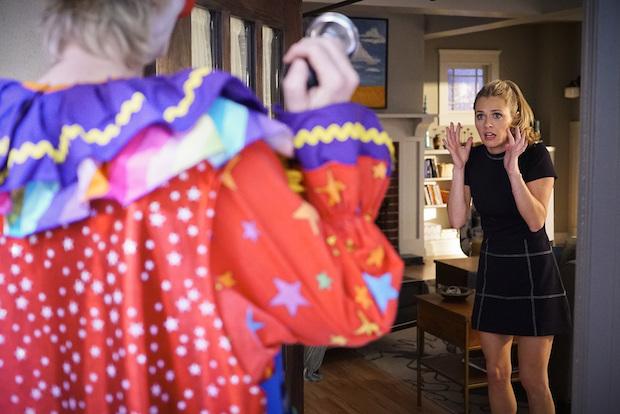 Allison is understandably terrified by Amy's clown suit.