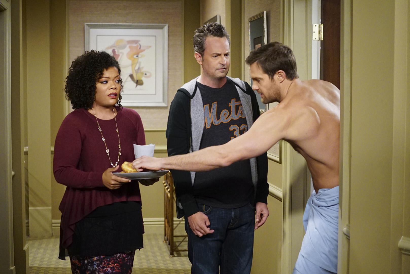 Murph grabs a fresh donut off Dani's plate.
