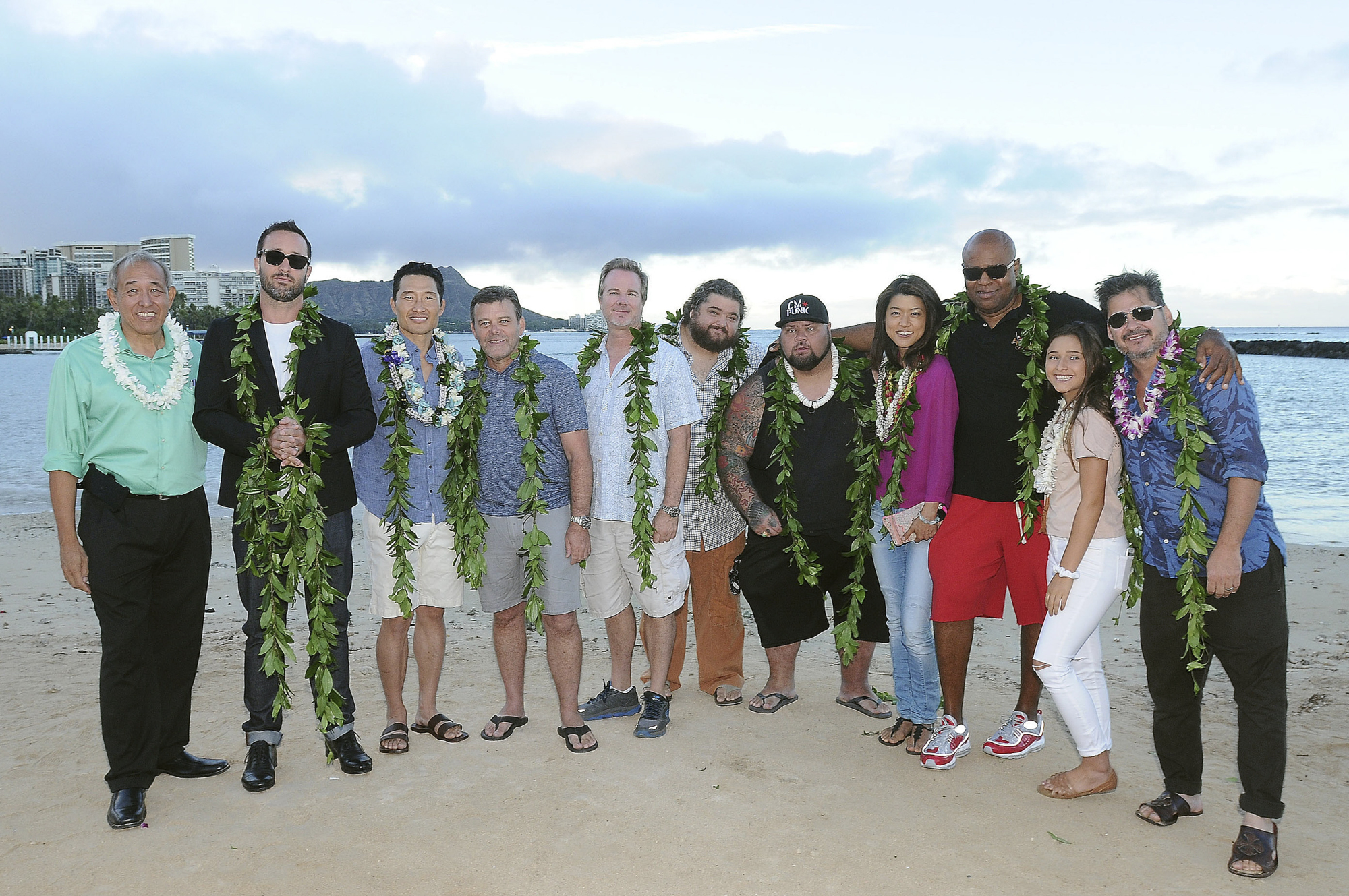 The attendees wore traditional royal maile leis for the event.