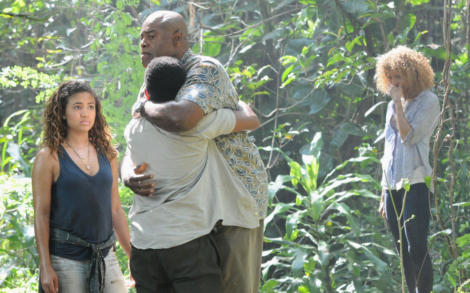 Paige Hurd as Samantha Grover, Chosen Jacobs as Will Grover, Chi McBride as Lou Grover, and Michelle Hurd as Renee Grover