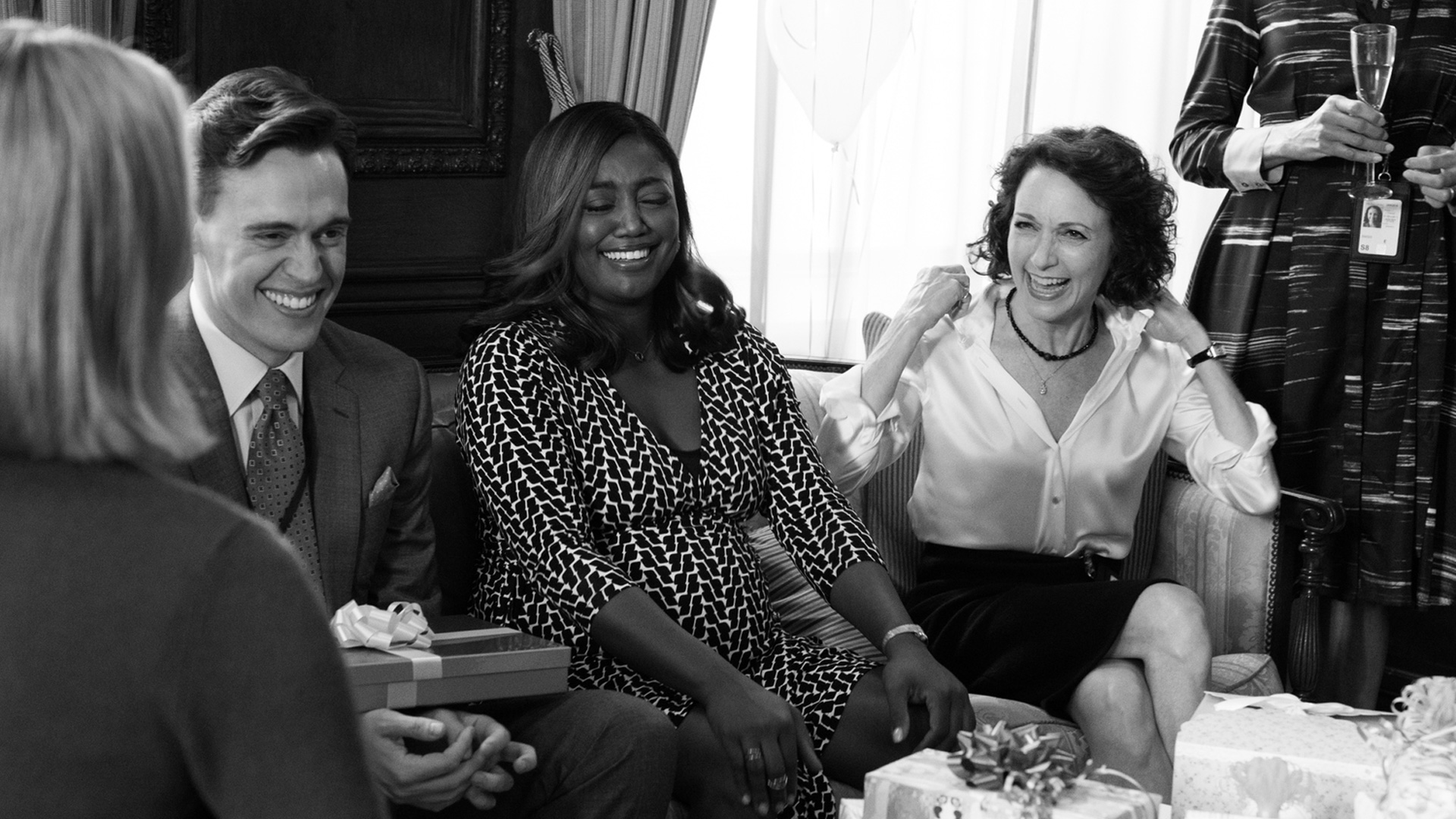 Erich, Patina, and Bebe Neuwirth (Nadine Tolliver) laugh between takes.