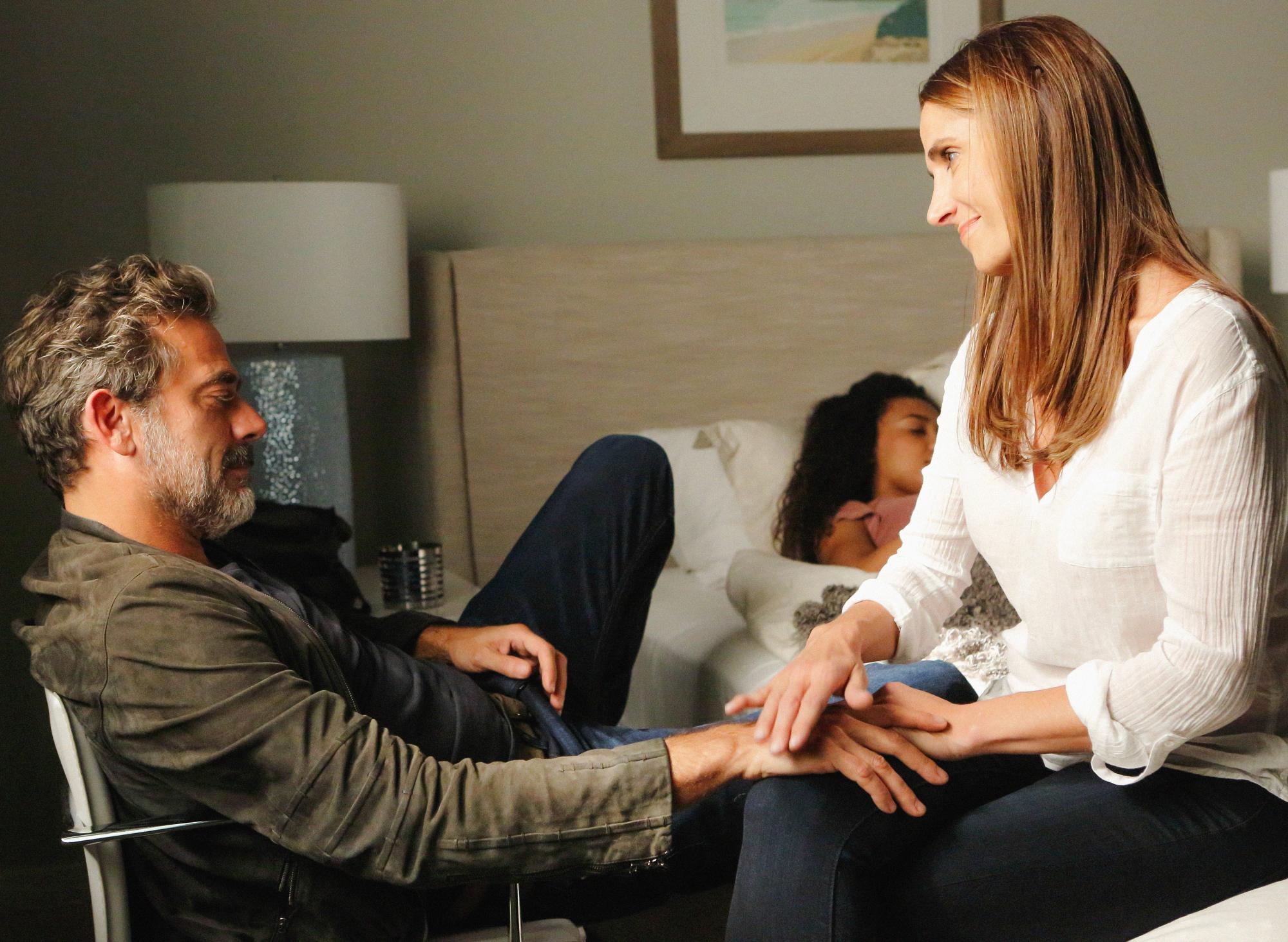 Jeffrey Dean Morgan as JD Richter, McKenna Roberts as Terra, and Melina Kanakaredes.