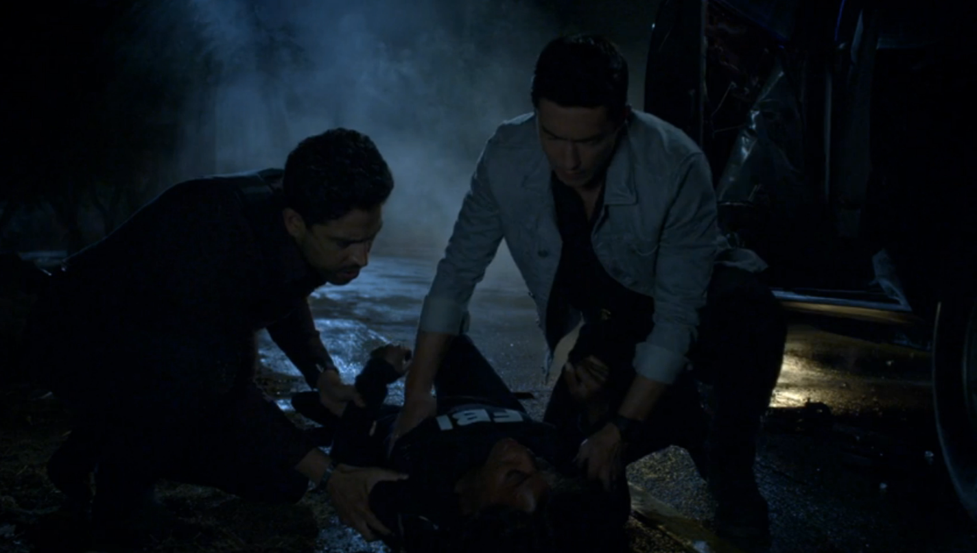 When Agent Matt Simmons rescued Dr. Tara Lewis from Mr. Scratch's truck trap.