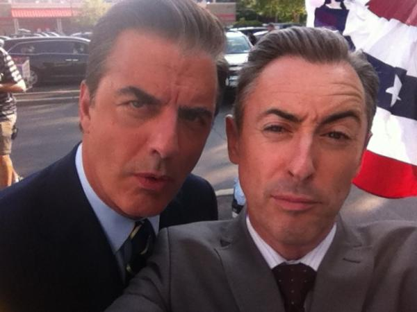Alan Cumming Tweets On the Set with Chris Noth