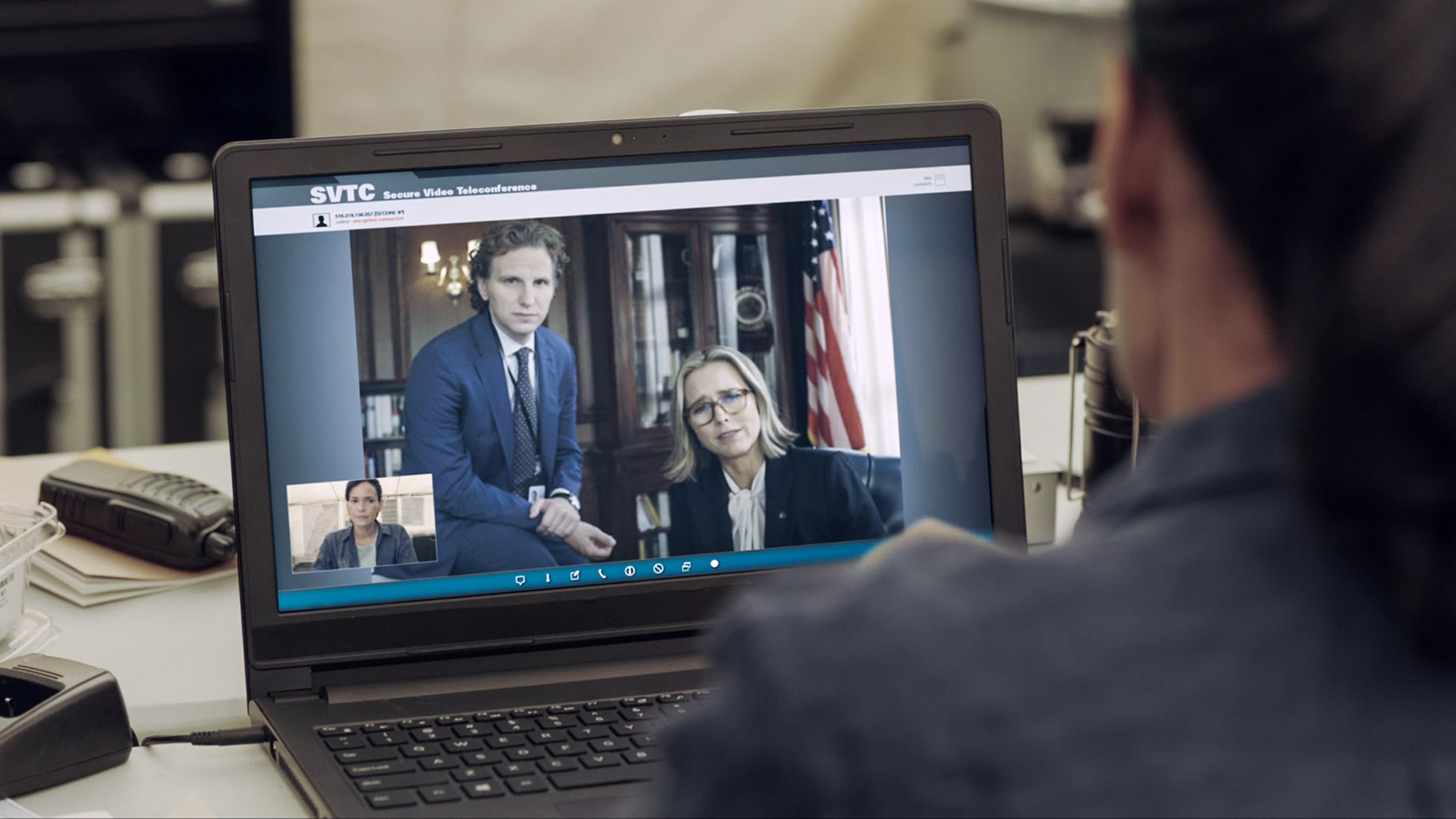 Sebastian Arcelus and Téa Leoni team up for a video call.