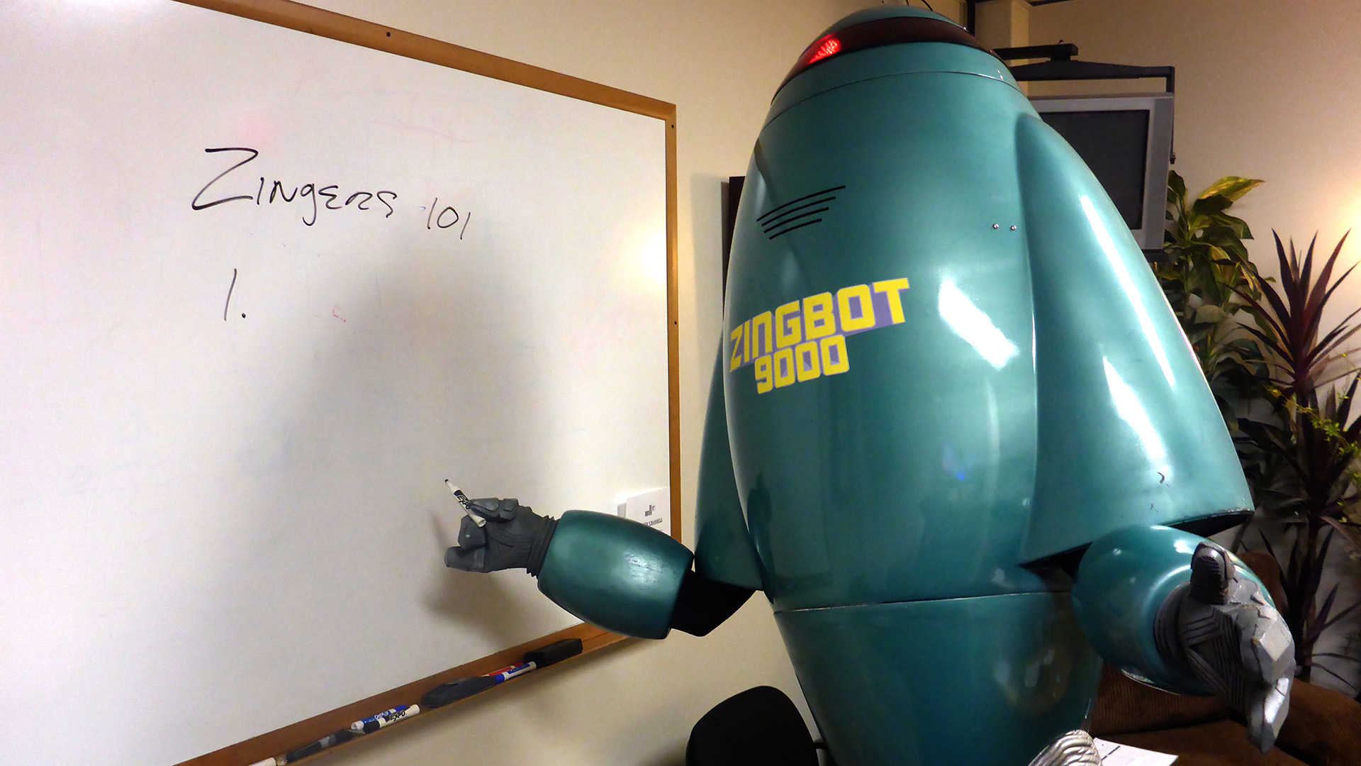 The first appearance by Zingbot