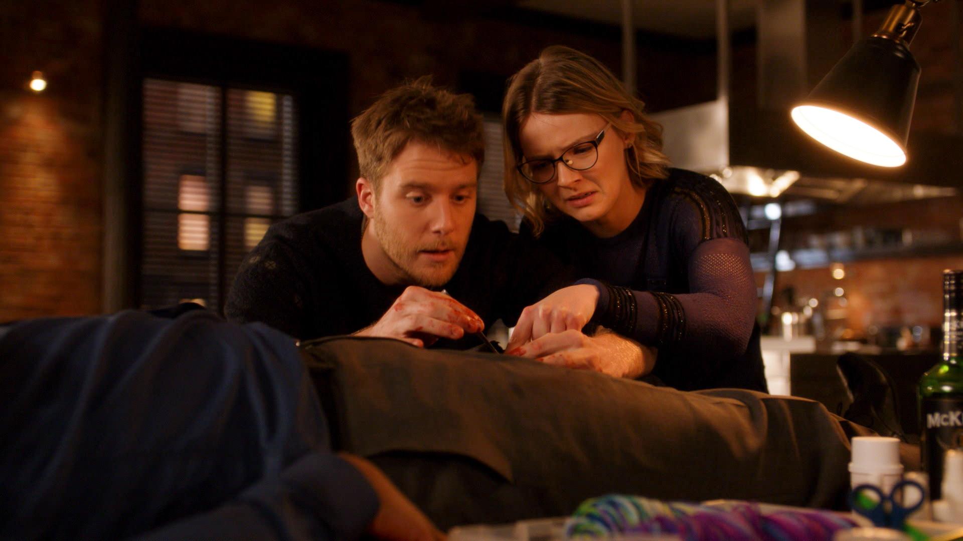 Jake McDorman as Brian Finch and Megan Guinan as Rachel Finch