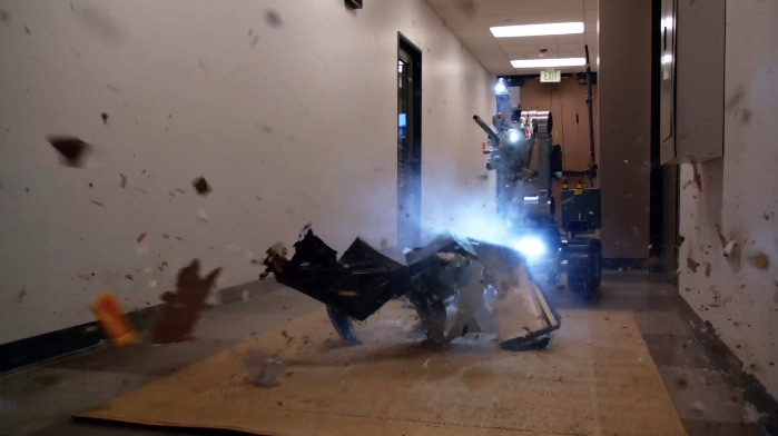 Sammy the robot was created with consultation from an explosive technical specialist at the U.S. Bureau of Alcohol, Tobacco, Firearms, and Explosives. A real charge was used in Sammy's suitcase takedown.
