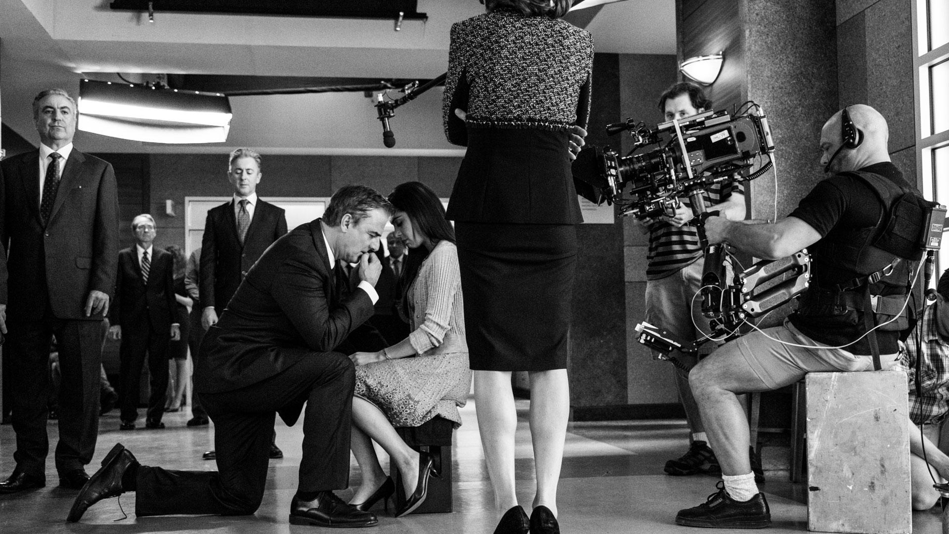 Chris Noth gets down on bended knee in an emotional scene as Peter Florrick.